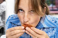 """Kocken Ulrika Brydling under årets SvD-test av kräftor, där både signal- och flodkräftor ingick. """"Smakmässigt är det ingen skillnad, även om jag har en förkärlek för flodkräftorna"""", säger hon."""