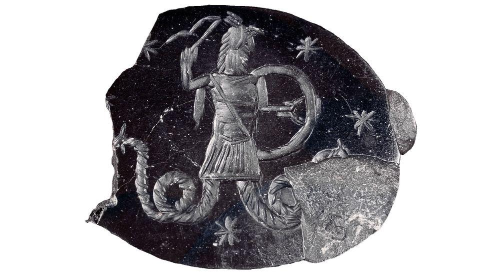 Graverad sten troligen tillhörande anhängare till Basilides, kristen gnostiker från Syrien, verksam i Alexandria runt 135 e Kr.