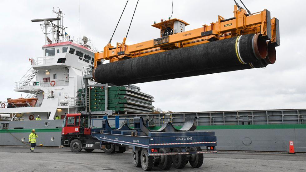 Den ryska gasledningen Nord Stream 2 har bland annat byggts med hjälp av svenska hamnar. Arkivbild