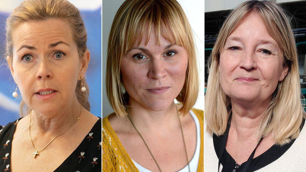 EU-parlamentarikerna Cecilia Wikström (L), Linnéa Engström (MP) och Marita Ulvskog (S).