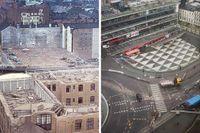 Bilden till vänster är från 1958 – innan Sergels torg fanns. En bild på samma avstånd och vinkel går inte att ta idag. Bilden till höger är tagen från Hötorgsskrapan närmast torget. Hela bilden från 1958 finns längre ner.