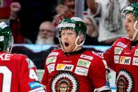 Frölundas Ryan Lasch jublar efter 5-2-målet mot Djurgården.