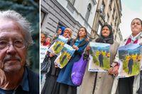 Peter Handke och demonstranter utanför Sveriges ambassad i Sarajevo.