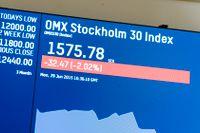 Börsskärm på Stockholmsbörsen. Arkivbild.