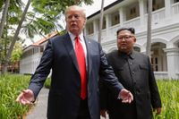 När Donald Trump och Kim Jong-Un möttes i Singapore den 12 juni 2018 var det första gången som en sittande amerikansk president och en nordkoreanskledare träffades.