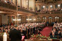 Statsminister Göran Persson talade i Stora synagogan i Stockholm i samband med Förintelsens minnesdag 2005.