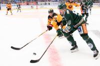 Luleå och Färjestad tippas som SM-guldfavoriter inför säsongen. Här jagar Luleås Einar Emanuelsson, i gult, och Färjestads Sebastian Erixon i kapp under ett möte förra säsongen. Arkivbild.