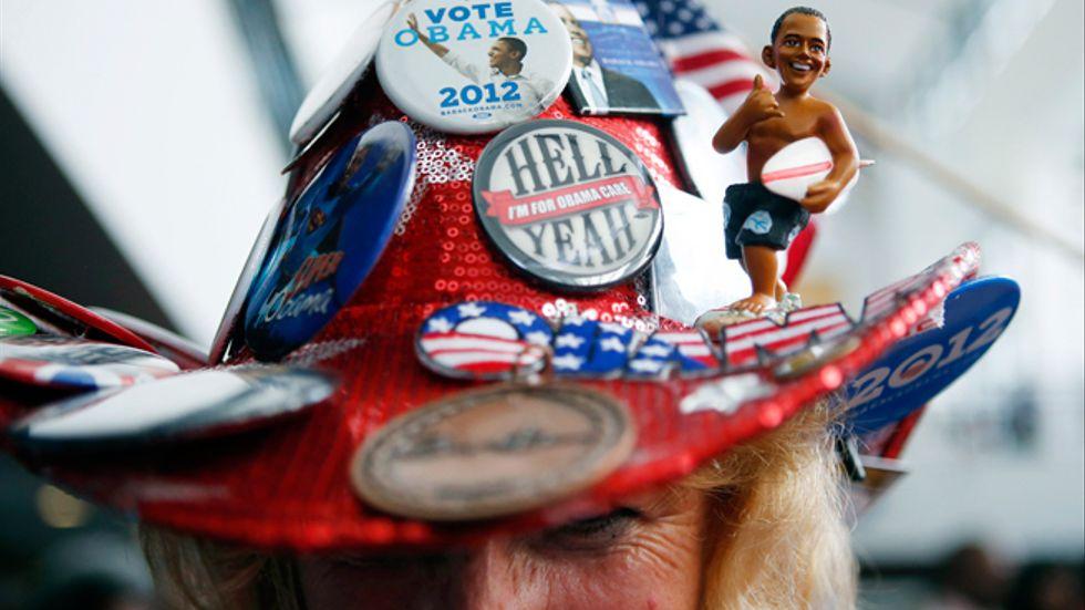 Kelly Jacobs från Hernando i Mississippi visar vem hon stöder.