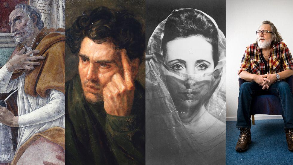 Kyrkofadern Augustinus (porträtt av Botticelli), Lord Byron (porträtt av Gericault), Anaïs Nin och Ulf Lundell.