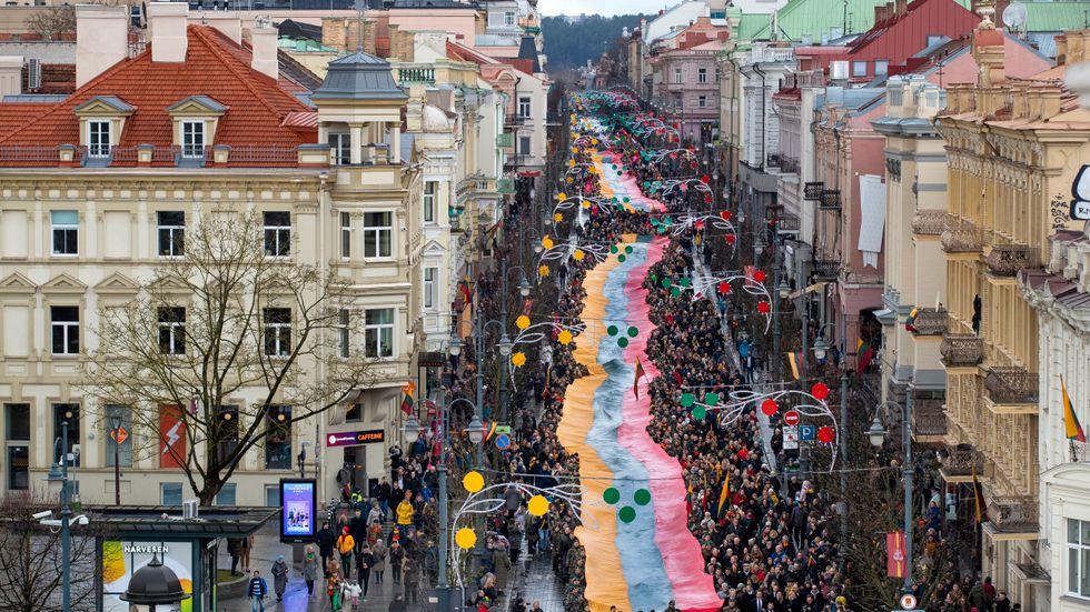Firandet av Litauens självständighet i Vilnius, 2020.