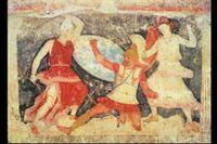Två amasoner slåss mot en grek, väggmålning i Tarquinia, ca 370-360 f Kr.
