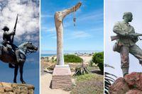 """Galgen vid Henties Bay, """"Reiterdenkmal"""" och """"Marine Denkmal"""", samtliga i Namibia."""