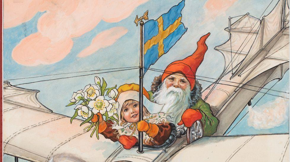 """Jenny Nyström, """"Flygande tomte"""", akvarell, 1928. (Förlaga till """"Jultomten, skolbarnens jultidning"""", utgiven 1891–1934)."""