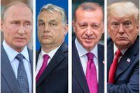 Vladimir Putin, Viktor Orbán, Recep Tayyip Erdoğan och Donald Trump.