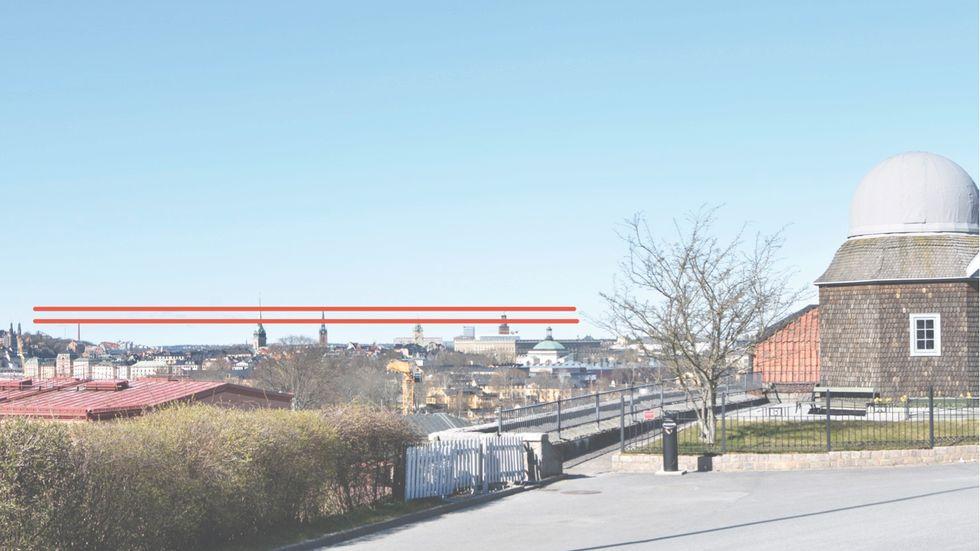 Utsikten från Skansen kommer att störas av planerade åkmaskiner, 45 respektive 30 meter höga (det övre resp undre strecket).