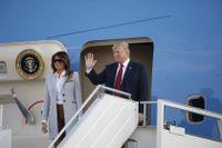 President Donald Trump och hustrun Melania landar på Helsingfors-Vanda flygplats inför måndagens toppmöte med Rysslands Vladimir Putin.