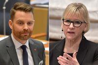 Vänsterpartiets utrikespolitiska talesperson Hans Linde och utrikesminister Margot Wallström (S).
