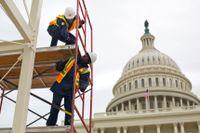 Förberedelserna pågår vid Kapitolium i Washington DC inför att Trump tar makten på fredag 20 januari.