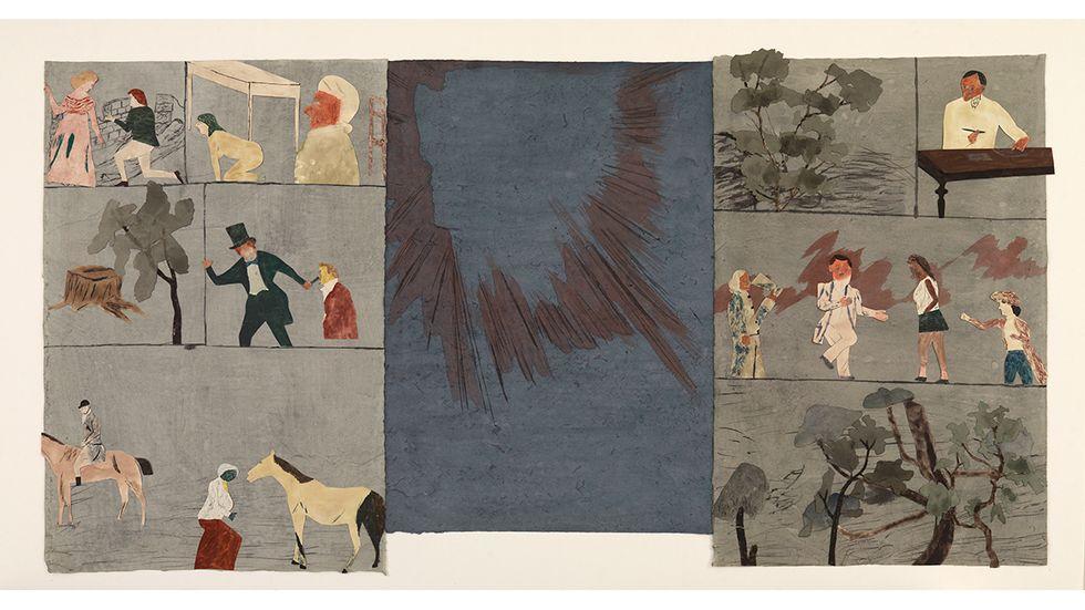"""Jockum Nordström, """"Dag, natt, dag"""", 2015, akvarell, blyerts och krita på papper, collage, 99x190 cm."""