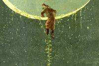 Baron von Münchhausen klättrar upp till månen på en bönstjälk i Alphonse Adolphe Bichards illustration.