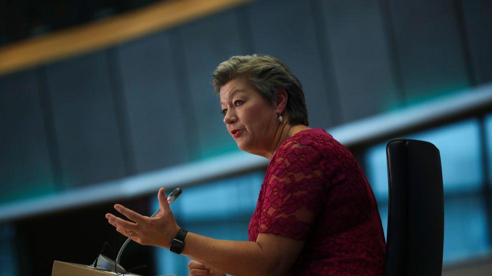 Ylva Johansson (S) hade en tuff sittning i förra veckans utskottsförhör i EU-parlamentet. Arkivfoto.