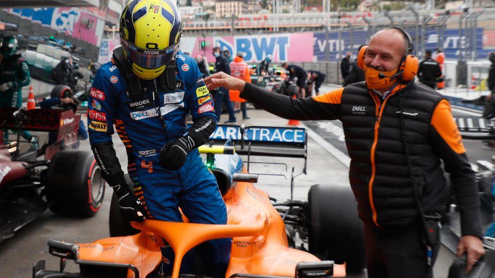 Lando Norris var först i mål under F1-kvalet i Sotji.