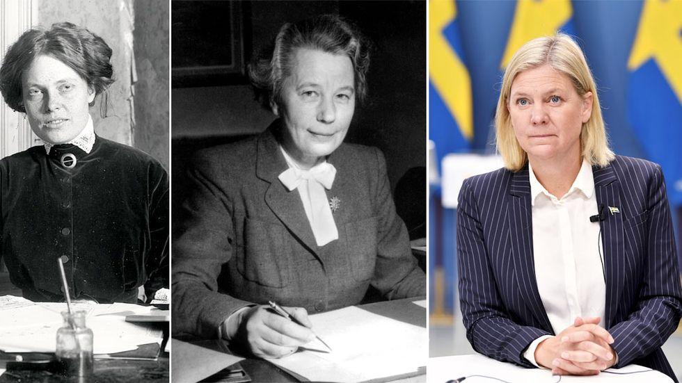 Kerstin Hesselgren, Karin Kock och Magdalena Andersson: vår första kvinnliga riksdagsledamot, vårt första kvinnliga statsråd – och vår första kvinnliga statsminister?