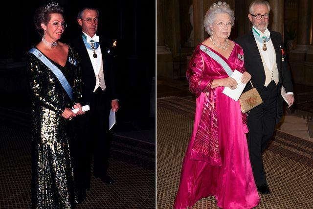 Prinsessan Christina med maken Tord Magnusson vid Nobelfesten 1996 och 2015.