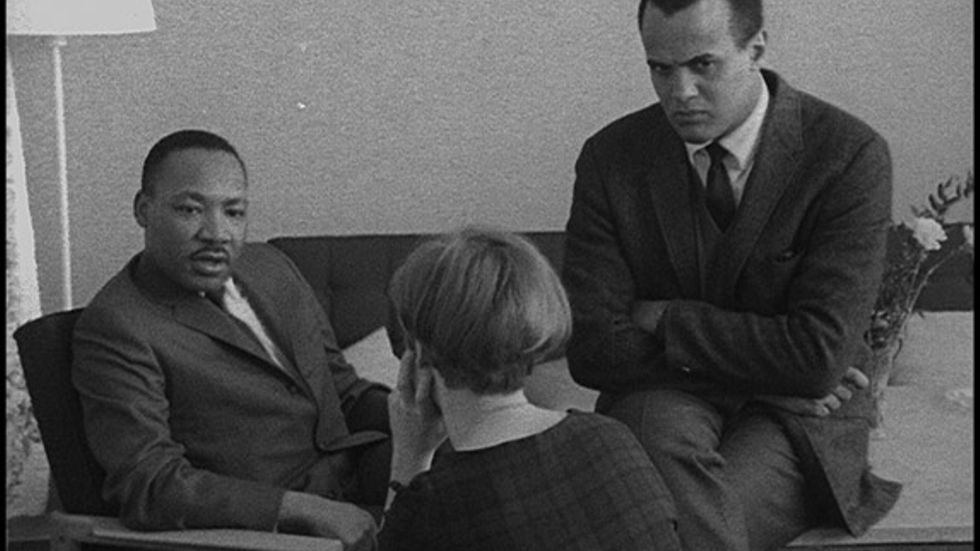 Martin Luther King och Harry Belafonte intervjuas av Ingrid Dahlberg.