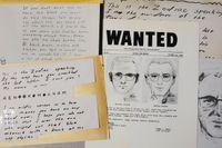 En fantombild på Zodiacmördaren och kopior på mördarens brev som skickades till tidningen San Francisco Chronicle. Arkivbild.