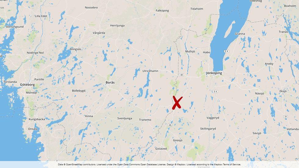 Kraftig rökutveckling efter en brand i Gislaved i Jönköpings kommun.