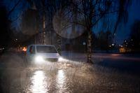 Översvämning i stadsdelen Rödäng i Umeå.