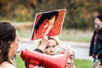 Stödmanifestation för Gui Minhai utan för Kinas ambassad i Stockholm, 17 oktober 2018.