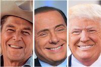Politisk erfarenhet är inte alltid ett plus: Ronald Reagan, Silvio Berlusconi och Donald Trump.