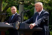 USA:s president Donald Trump och Polens dito Andrzej Duda under presskonferensen utanför Vita huset på onsdagen.