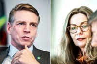Per Bolund (MP) och Birgitte Bonnesen, vd i Swedbank.