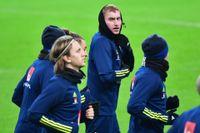 Dejan Kulusevski under herrlandslagets träning på Stade de France i Paris inför Nations League-matchen mot Frankrike på tisdag.