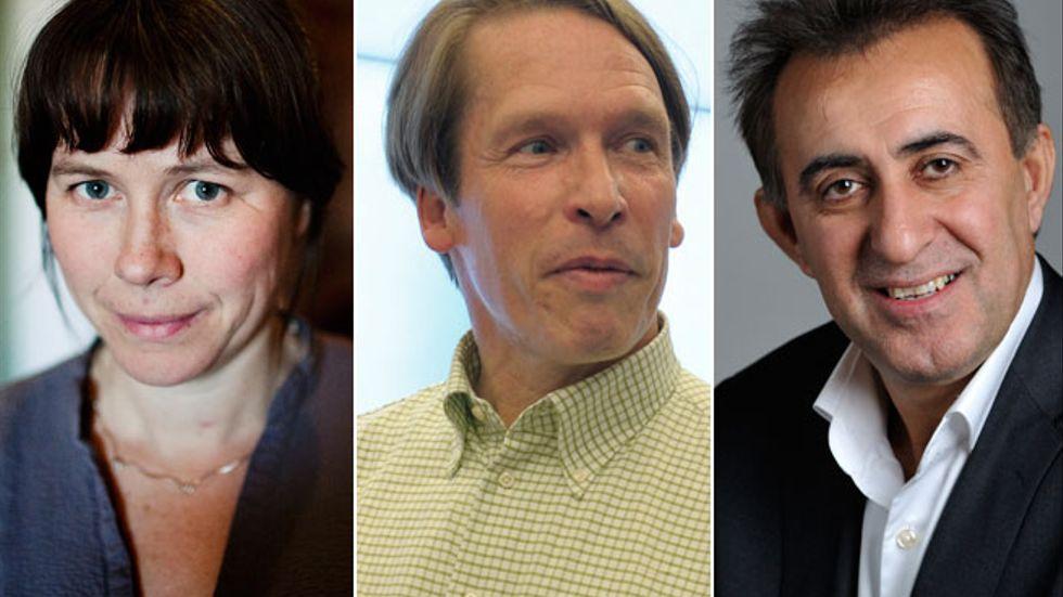 Åsa Romson, Mats Pertoft och Jabar Amin.