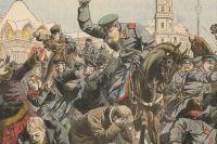 Liberal demonstration slås ned i Sankt Petersburg. Illustration från 1844.