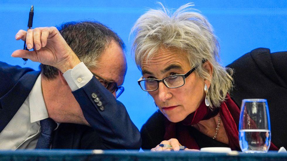 WHO:s Peter Ben Embarek och Marion Koopman under en presskonferens om virusets ursprung.