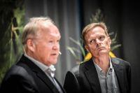 Ordförande Göran Persson presenterar Jens Henriksson, ny vd för Swedbank.