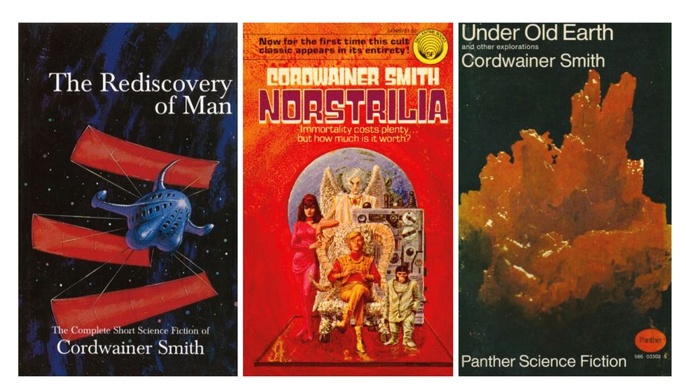 "Omslagen till Cordwainer Smiths böcker ""The rediscovery of man"", ""Norstrilia"" och ""Under old earth""."