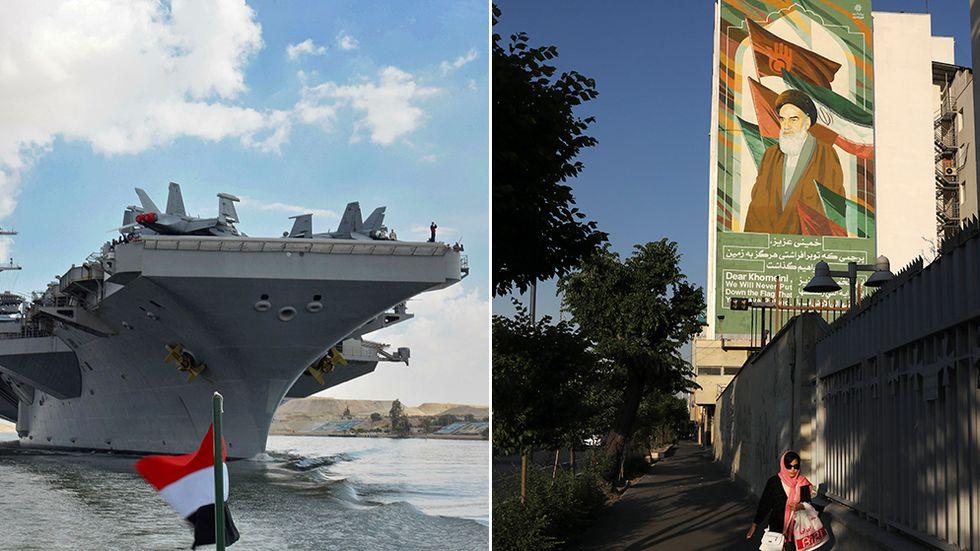 Amerikanska hangarfartyget USS Abraham Lincoln, samt gatubild från Teheran.