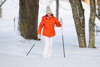 Drottning Silvia på en på en längdskidtur inne i Drottningholms slottspark tidigare i februari.