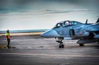 Jas 39 D Gripen på övning på Island.