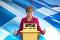 Skottlands regionala ledare Nicola Sturgeon vill ha en folkomröstning om självständighet från Storbritannien. Arkivbild.