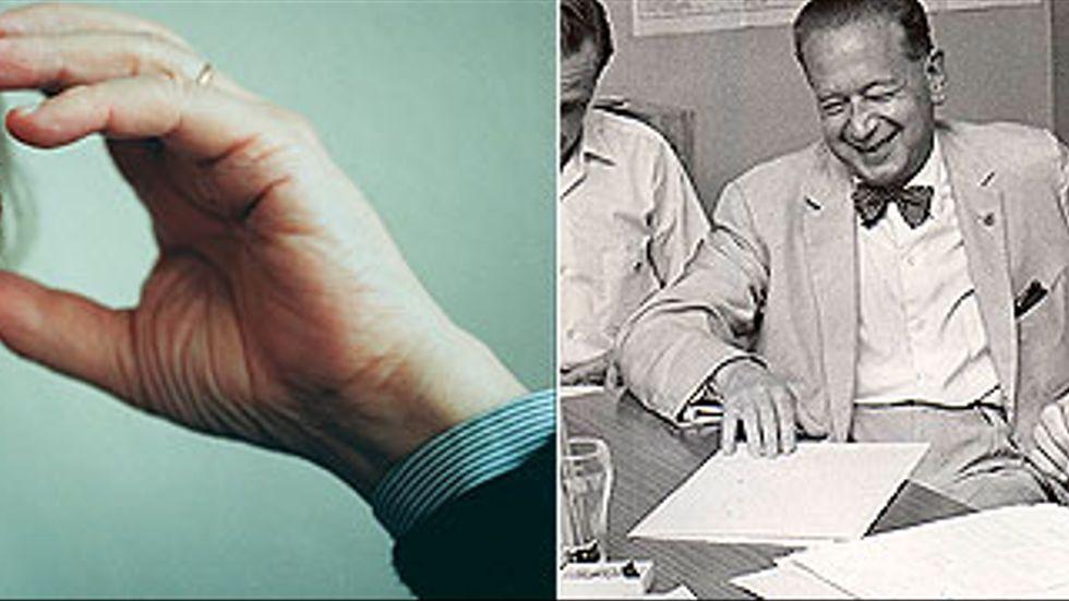 Sture Linnér blev 92 år. Bilden till vänster togs 1996. Till höger Sture Linné (till höger i bilden) och FN:s generalsekreterare Dag hammarskjöld tillsammans med Sture Linnér i Leopoldville, Kongo, augusti 1960.