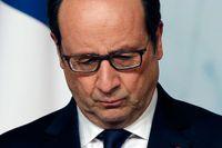 Frankrikes president Francois Hollande under onsdagens pressträff tillsammans med FN-chefen Ban Ki-moon i Elysee-palatset i Paris.