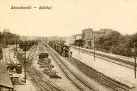 Järnvägsstationen i Schneidemühl avbildat på ett vykort.