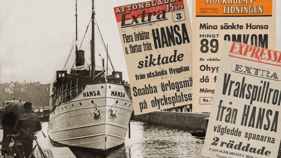 S/S Hansa liggandes intill kaj någon gång på 30-talet eller 40-talet.